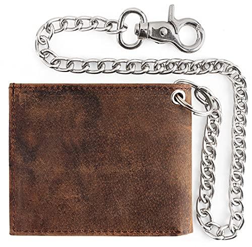 RFID Blocking Mens bi-fold Style Cowhide Leather Steel Chain Wallet, buffalo vintage leather
