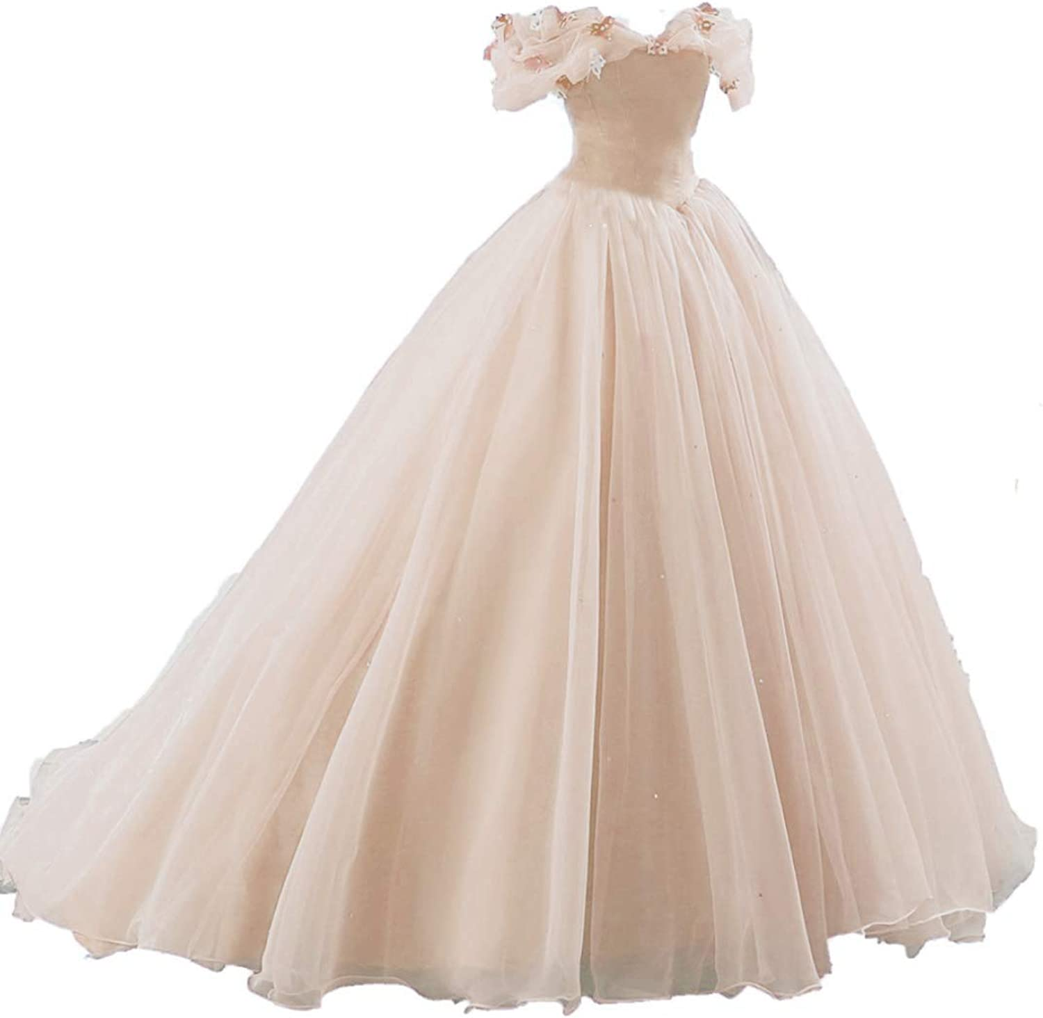ZVOCY Women's Ball Gown Cinderella Quinceanera Dresses Butterfly Off The Shoulder Wedding Dress