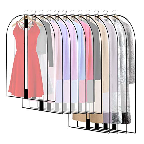 HOWAF 12 Pack Breathable Clothes Covers with Zip, Waterproof Dustproof Garment Covers Bags Moth Proof Dress Bag Covers Damp-proof Mens Suit Storage Bag for Wardrobe Storage and Travel(clear)