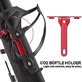 DAUERHAFT Práctico portabotellas de CO2 para Bicicletas Soporte de Botellas de CO2 de Metal de Calidad, para Bicicletas de montaña(Red)
