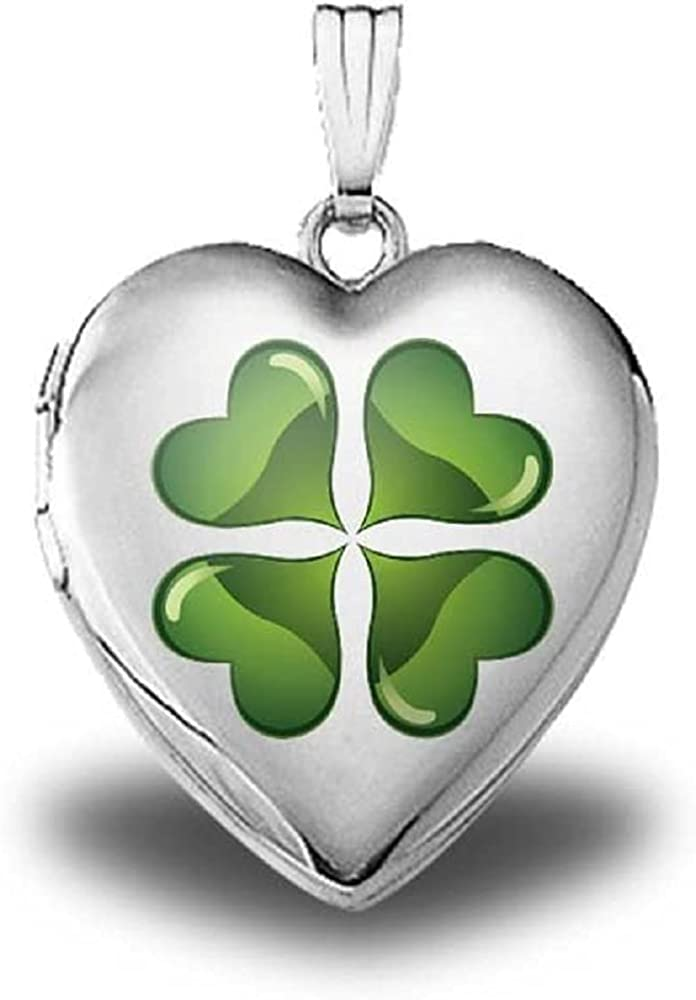 PicturesOnGold.com 14K White Gold Green Four Leaf Clover Sweetheart Locket 3/4 Inch X 3/4 Inch in Solid 14K White Gold with Engraving