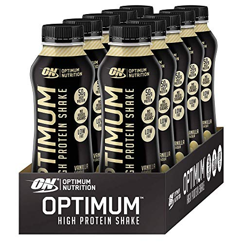 Optimum Nutrition ON High Protein Shake Bottles, Ready To Drink Snack, Low Fat and No Added Sugar, Vanilla, 10 Shakes, 10 x 500 ml