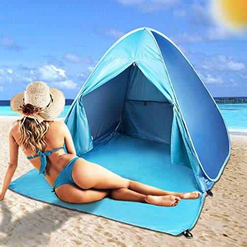 FBSPORT Beach Tent Sun Shelter, UPF 50+ Automatic Pop Up Sun Shade, Portable Outdoor Tent for Beach with Carrying Bag, Lightweight Windproof Cabana Canopy Beach Tents Fit 2-3 Person