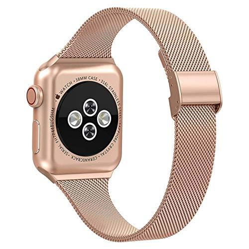 Pulsera fina de malla de acero inoxidable con correa de reloj para Apple Watch Band Series 5 4 3 2 Pulseira