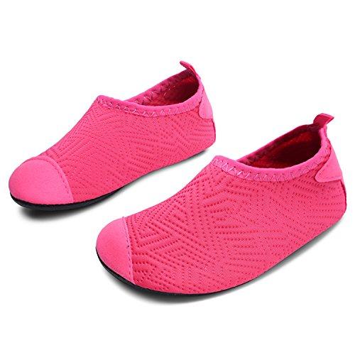 L-RUN Little Kids Water Shoes Barefoot Slip-on Aqua Sock Dot_Rose 8-8.5=EU 24-25