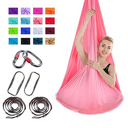 SAHWIN® Aerial Yoga Swing Set, Hängematte/Tragetuch Mit Anleitung Antigravity Decke Hängende Yoga Schaukel,Rose red