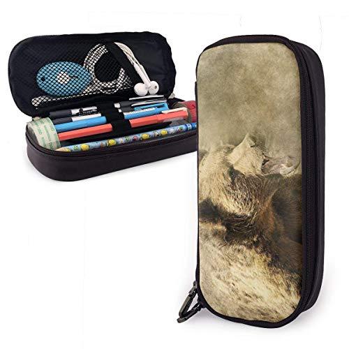 XCNGG Estuche para lápices de cuero de oso Estuche para lápices de gran capacidad Porta lápices grande Bolsa de maquillaje Cremalleras dobles para adolescentes, niños, niñas, estudiantes, bolígrafos