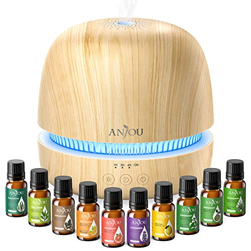 Essential Oil Diffuser Set, Anjou 300ml Ultrasonic Aroma Oils Diffuser Gift Set with 10 Essential Oils for Quiet Constant Aromatherapy, 7 Color Lights Timer