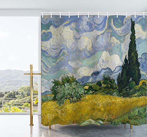 Ao blare A Wheatfield with Cypresses Shower Curtain Van Gogh Waterproof Polyester Fabric Bathroom