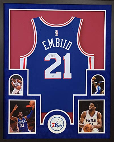 Joel Embiid Phildelphia 76ers Autograph Signed Custom Framed NBA Licensed Swingman Jersey Suede Matting Laser Cut Logo Fanatics Authentic Certified