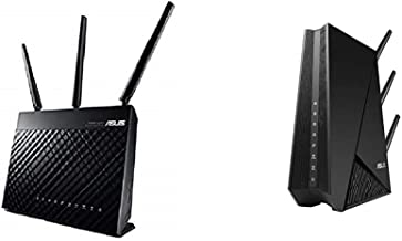 Asus AC1900 Dual Band Gigabit WiFi Router with MU-Mimo, Adaptive Qos and Parental Control (RT-AC68U),Black & Wireless 802....