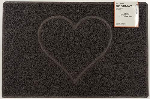 Nicoman Herz Geprägt Fußmatte-(Geeignet für Innen- und Schützen Außen), Klein (60x40cm), Braun
