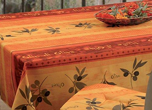 Tovaglia lavabile, colore: rosso e giallo, decorazione con motivo olive, circa240x 150cm, anti-macchia, tovaglia da tavola provenzale