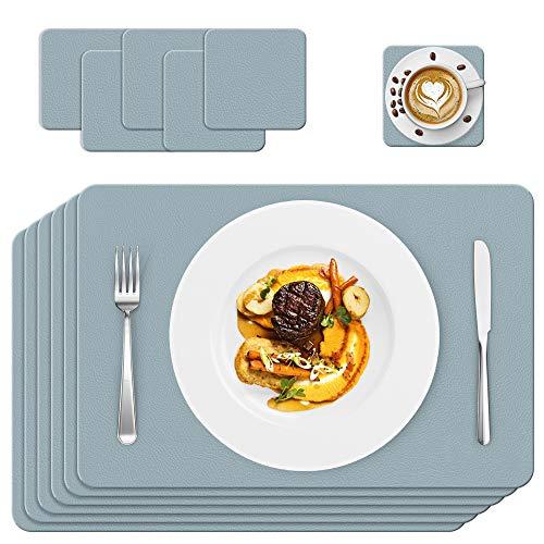 Manteles Individuales, Lavables Antimanchas Antideslizantes Resistente al Calor Juego de 6, Vinilo Salvamanteles Posavasos, Fácil de Limpiar y Impermeable, para Mesa Comedor de Cocina, Azul
