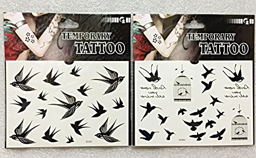 [Artasy ™][並行輸入品] DIY タトゥー シール 2種類 セット 155*109MM 鳥 ツバメ 燕 Temporary Tattoo s...