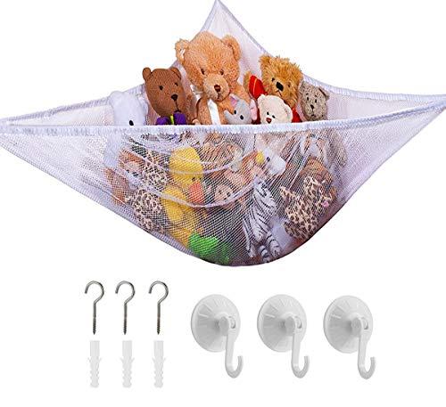 Toy Storage Teddy Hammock, Large Mesh Toys Holder Net Organiser with 3 Strong Hooks