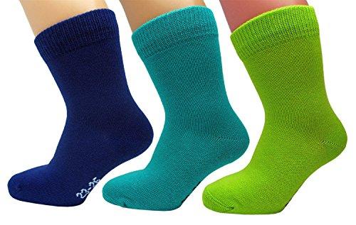 vitsocks Calcetines Algodón 98% Talla 23-34 Niño/a (3 PARES) Colores Suaves, verde azul turquesa, 27-30