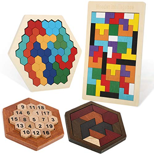 4 Pieces Wooden Hexagon Puzzle Wooden Tangram Block Puzzle Brain Teaser Toy 3D Russian Blocks Game Geometry Logic IQ Game Blocks Educational Toy for Teens Adults Challenge