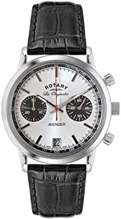 Rotary Watches Men's Avenger Sport Silver Dial Black Leather Strap Watch GS90130/06