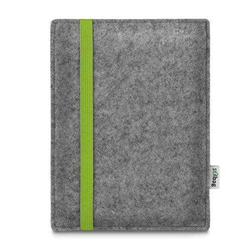 stilbag e-Reader Tasche Leon für Energy Sistem eReader Pro HD | Wollfilz hellgrau - Gummiband Lime | Schutzhülle Made in Germany