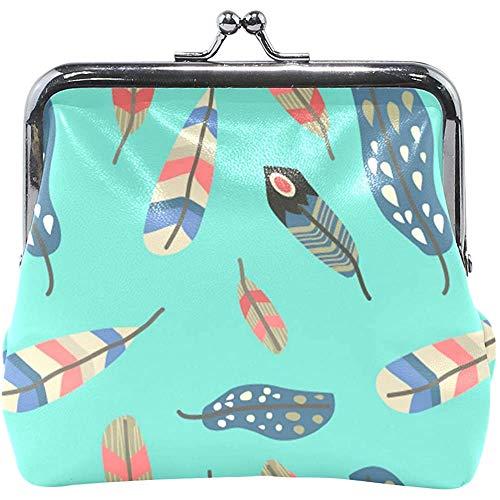 Kleurrijke Boho Feather Pattern muntcassette portefeuille dames portemonnee