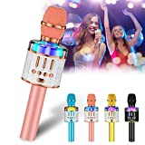 Verkstar Microphone for Kids & Adult Wireless Bluetooth Handheld Karaoke Mic with LED Lights Magic Singing and Recording Speaker Machine for Party/Wedding/Christmas…