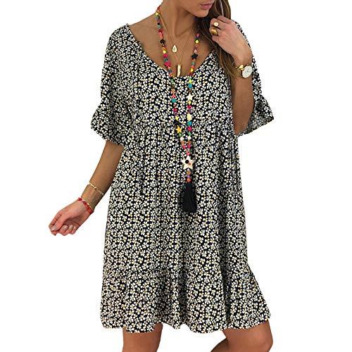 Vestido de Gasa Floral de Verano para Mujer Vestidos de Verano Vestidos de Fiesta de Playa de Bohemia Gruesos y completos