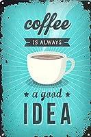 Coffee Idea 金属板ブリキ看板警告サイン注意サイン表示パネル情報サイン金属安全サイン