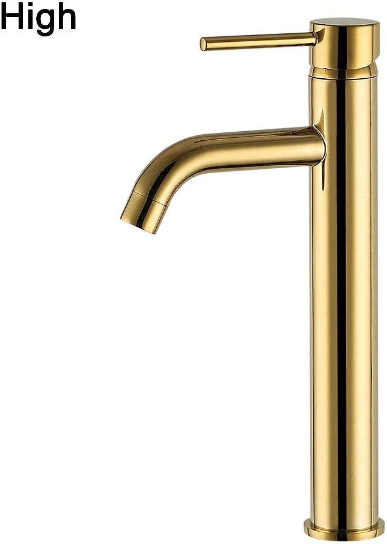 WasserhahnGold Runde Stil Becken Wasser Hahn Messing Badezimmer Wasserhahn Single Hole Deck Mount Wassermischer Gold hohe Gre