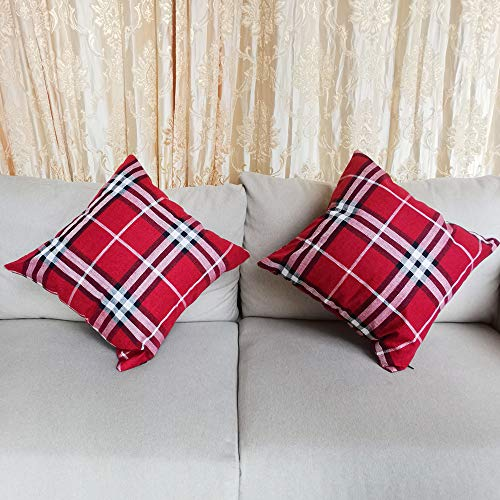 Songtec Christmas Outdoor Pillow Covers 18x18 Inch, Christmas Decorative Patio Cushion with Red White Home Decor - 2 Pack