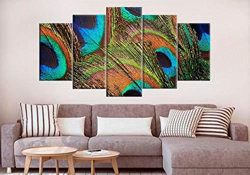 rkmaster-pauwenveren, wanddecoratie, Peacock Cracked canvas, Peacock Art print, groene pauwenveren, fotolijst, print 5 panelen, wandkunst interpretatie