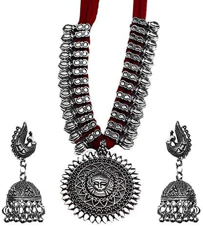 Kaizer Jewelry Oxidised Silver Plated Strand Necklace Set for Women product image