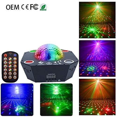 Disco bol, LED-afstandsbediening spaceship lichten podiumverlichting 120 patronen strobe Magic Ball licht voor KTV familie bar LYLZZ