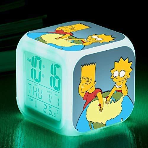 N/J regalo de cumpleaños Los Simpsons Coloridos de Color Ing-cambio de Reloj de Alarma Led Quad Bell de los Niños Regalo Creativo Pequeño Reloj de Alarma 17,8 Adecuado para los niños