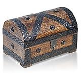 Brynnberg - Caja de Madera Cofre del Tesoro Pirata de Estilo Vintage, Hecha a Mano, Diseño Retro 24x16x16cm