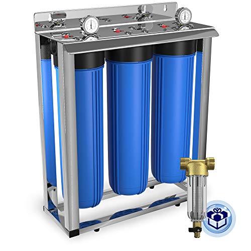3-Stage Big Blue 20' Whole House Filtration System by Aquaboon+Freestanding Steal Frame+Pressure Gauges+GAC Filter+Carbon Block+Sediment Filter Cartridges