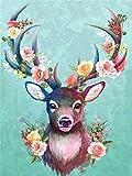 Reofrey 5D Diamond Painting Rosas Flor Reno, Pintura Diamante Bricolaje Completo Taladro Arte, Punto de Cruz Diamantes Bordado Pegatinas de Pared Decoración de La sala (30x40cm)