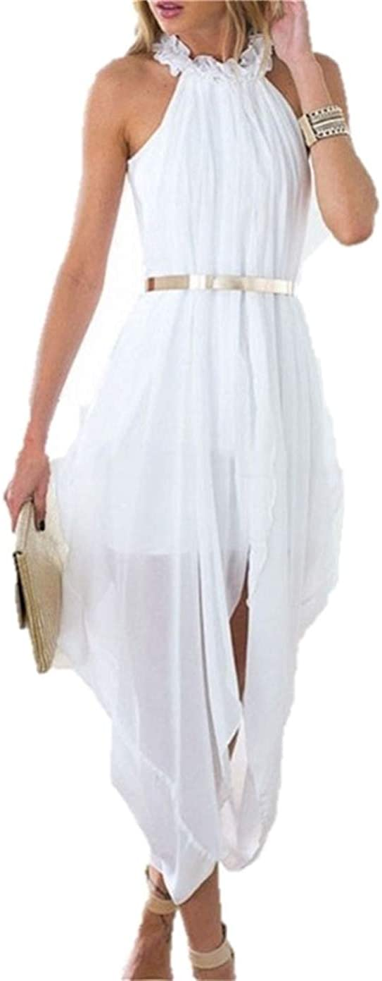 DESIGNER97 Women's Chiffon High Low Beach Wedding Evening Party Dress Folds Loose Casual Dress with Delicate Gold Belt