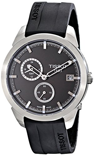 Tissot Men's T069.439.47.061.00 'T Sport' Black Dial Black Rubber Strap Titanium GMT Watch T069.439.47.061.00