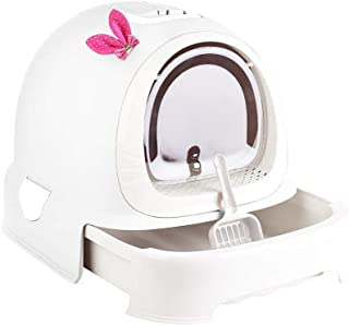 Cat Litter Box with Lid, Hooded Kittie Cat Litter Toilet, Trendy Covered Cat Litter Pan, with Litter Scoop