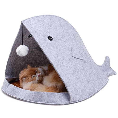 Big Mouth Shark Shape Pet Dog Cat Bed, CSSD Soft Warm Foldable Pet House (Gray)