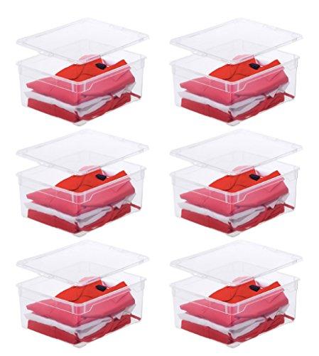 6 x Rotho Aufbewahrungsbox Clear Box Sweater 18 Litern, 40,0 x 33,5 x 17,0 cm Kunststoff transparent stapelbar Plastikbox