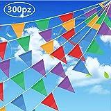 Gudotra 300pz Multicolore Bandiere Triangolare Nylon per Decorazione di Festa Partito