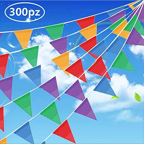 Gudotra 300pcs Banderín Banderas Triangulares de Nylon para Decoración de Fiesta Boda Cumpleaños Celebracion Bienvenida Navidad Víspera Escuela Jardín