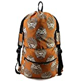 Animal Laundry Bag With Zipper Pocket W24'H36' Large Laundry Backpack With Shoulder Strap and Handles Duffle Sack for College Dorm Camping Machine Washable Heavy Duty Cute Brown Hedgehog Print