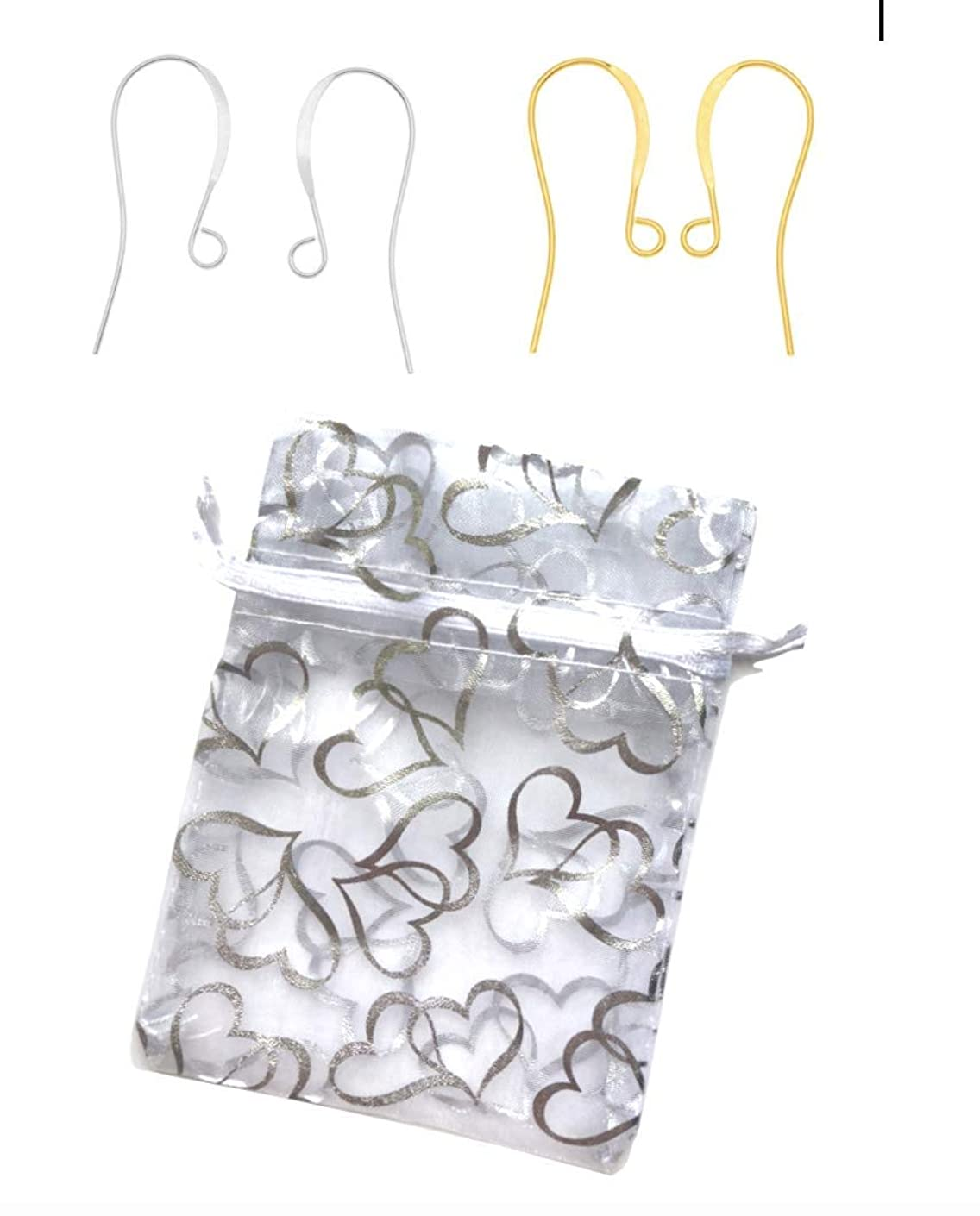 Plated Earring Hooks, Silver & Gold 25 Pairs of Silver + 2 Pairs of Gold + Hearts Jewelry Bag