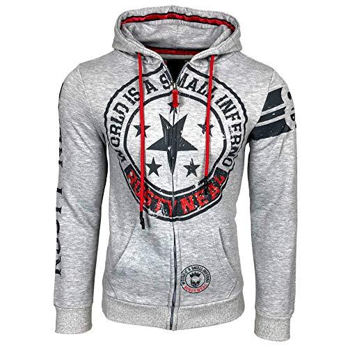 Rusty Neal Sweatjacke Printed Front Logo Herren Sweatshirt Langarm Kapuzenpullover Hoody 77, Größe:L, Farbe:Grau