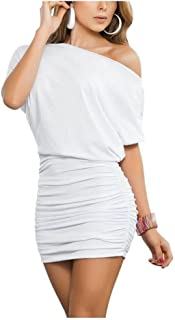 Anxihanee Women's Sexy Ruched Off Shoulder Party Club Bodycon Mini Dress