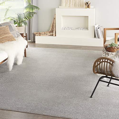 Nourison Essentials Solid Contemporary Silver Grey 8' X 10' Area Rug , 8' X 10'