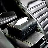 Car Tissue Holder,Sun Visor Napkin Holder Backseat Tissue Case ,PU Leather Tissue Box,Hanging Car Visor Tissue Holder Paper Towel Clip,Premium Car Tissue Box for car, Vehicle (Black)